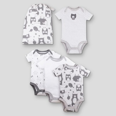 Lamaze Baby's Organic 4pc Bodysuit Gift Set - Gray 3M