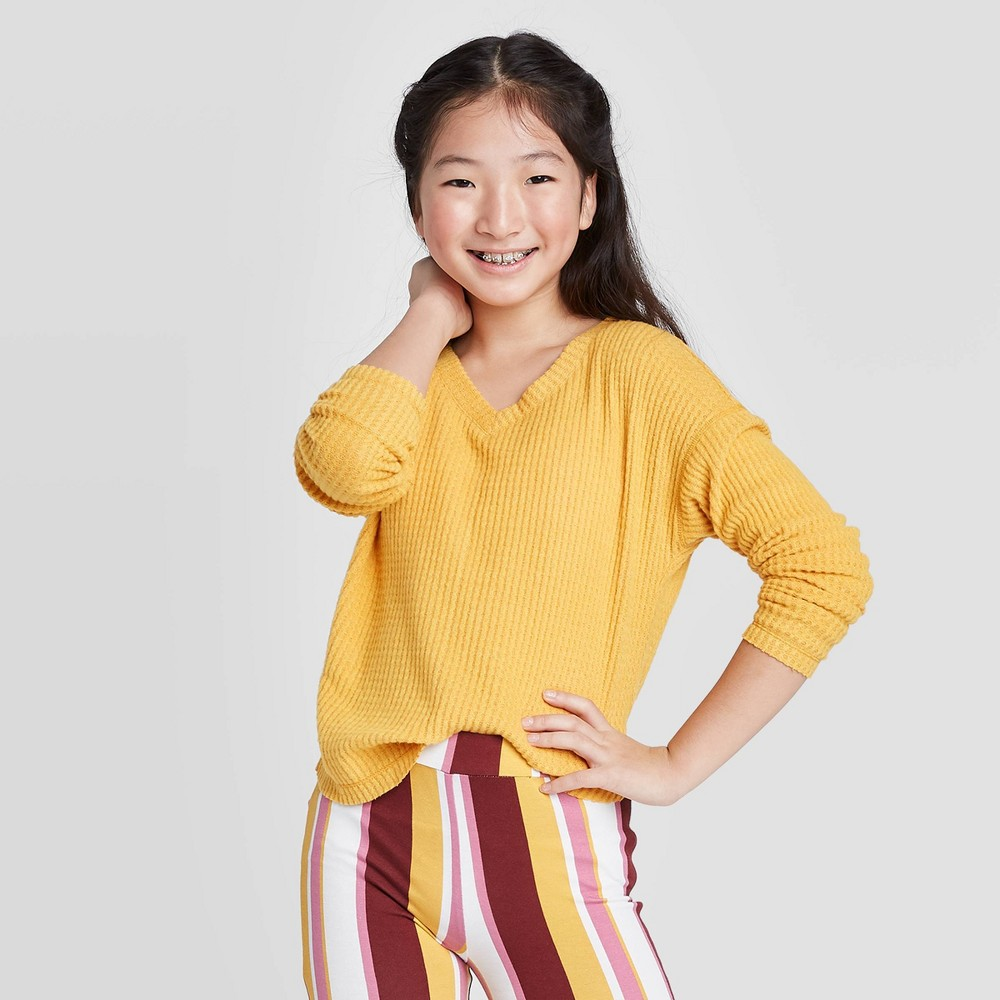 Image of Girls' Long Sleeve Waffle Knit Top - art class Yellow L, Girl's, Size: Large