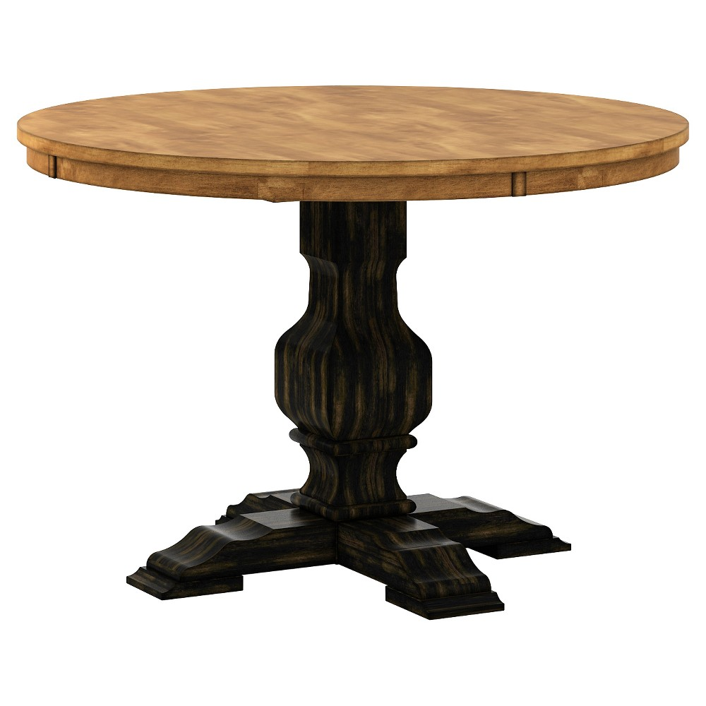 South Hill Round Pedestal Base Dining Table - Antique Black - Inspire Q