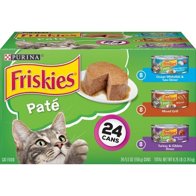 Purina Friskies Paté Wet Cat Food Whitefish, Mixed Grill & Turkey - 5.5oz/24ct Variety Pack