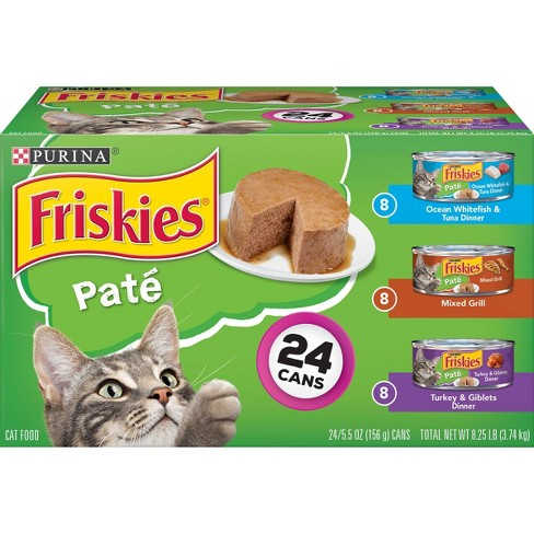 Purina Friskies Pat Wet Cat Food Whitefish, Mixed Grill & Turkey - 5.5oz/24ct Variety Pack - image 1 of 4