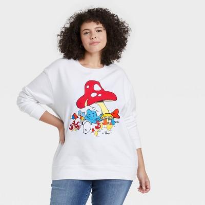 Women's Smurfs Embroidered Mushrooms Graphic Sweatshirt - White