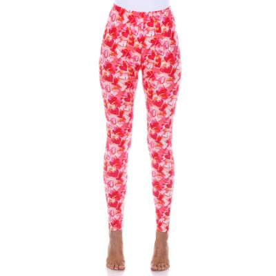 Women's Super Soft Midi-Rise Printed Leggings - One Size Fits Most - White Mark