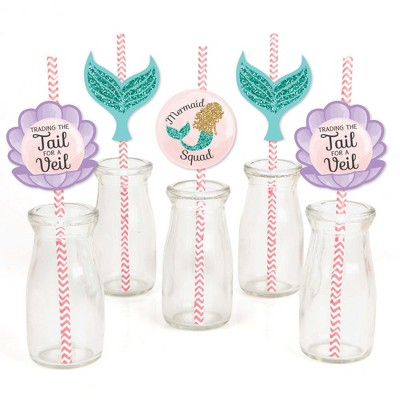Big Dot of Happiness Trading The Tail for A Veil - Paper Straw Decor - Mermaid Bachelorette Party Bridal Shower Striped Decorative Straws - Set of 24