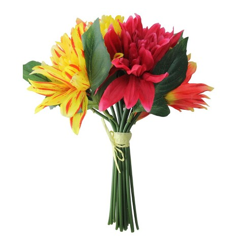 Allstate Fl 12 5 Red Yellow And Pink Artificial Decorative Elegant Dahlia Flower Bouquet