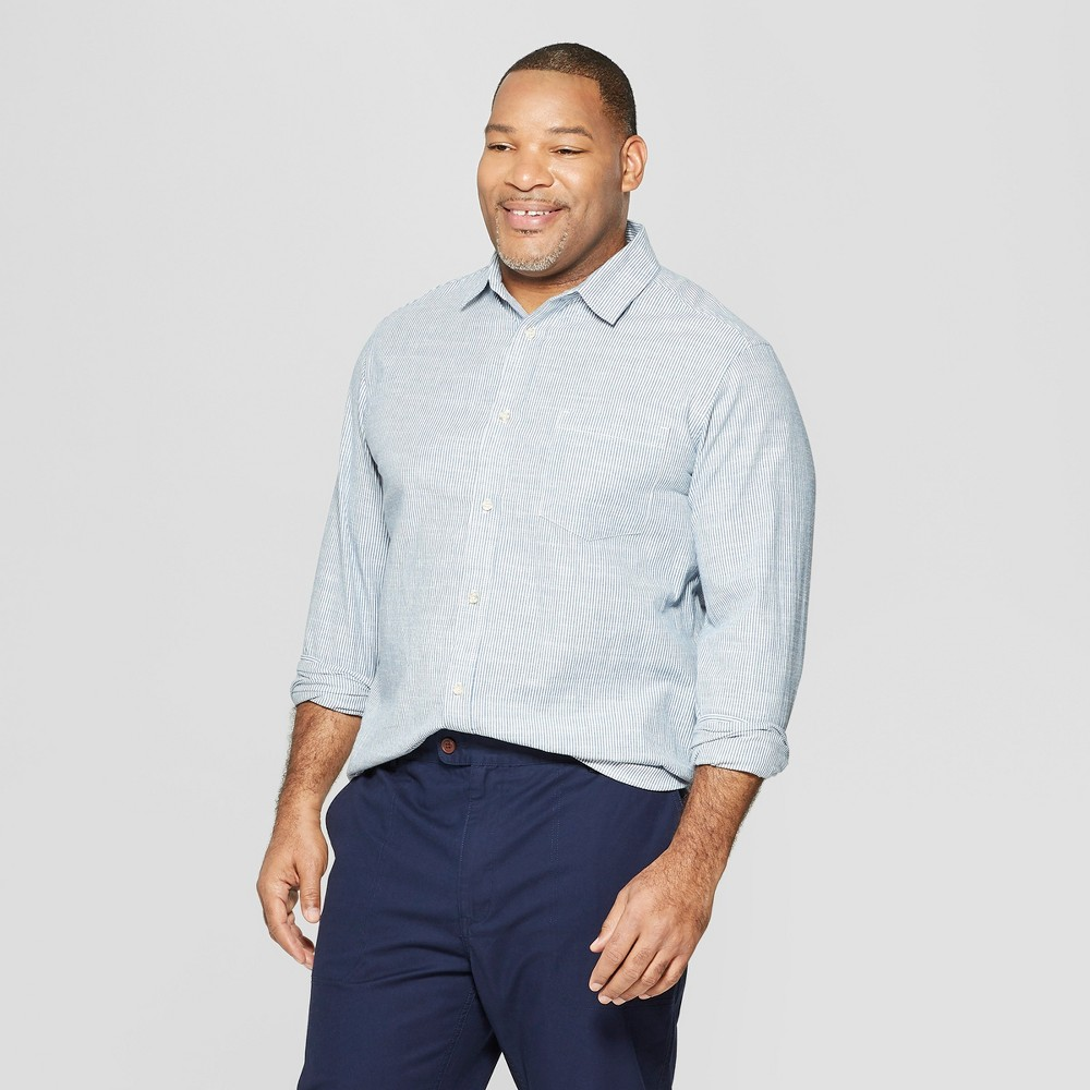Mens Tall Striped Long Sleeve Cotton Slub Button-Down Shirt - Goodfellow & Co White LT Price