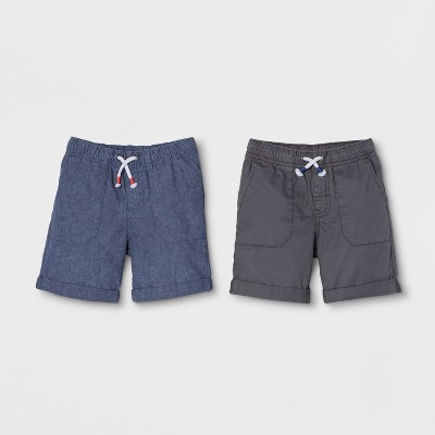 Toddler Boys' 2pk Pull-On Shorts - Cat & Jack™ Black/Light Blue 12M