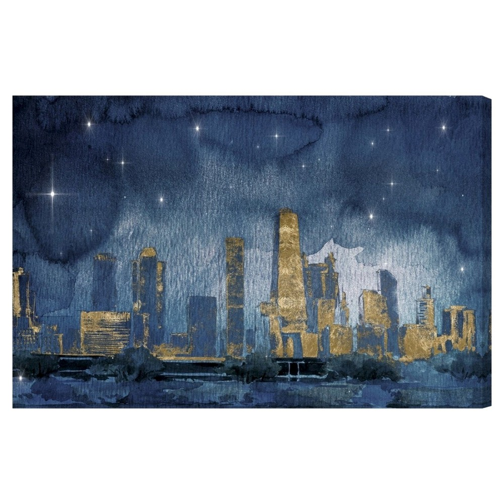 "Image of ""Oliver Gal Unframed Wall """"Chicago Nighttime"""" Canvas Art (24x16), Gold Blue"""
