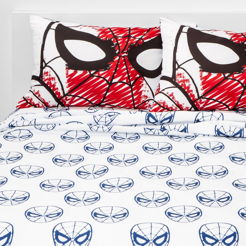 Image of Marvel Spider-Man Full Sheet Set White/Blue