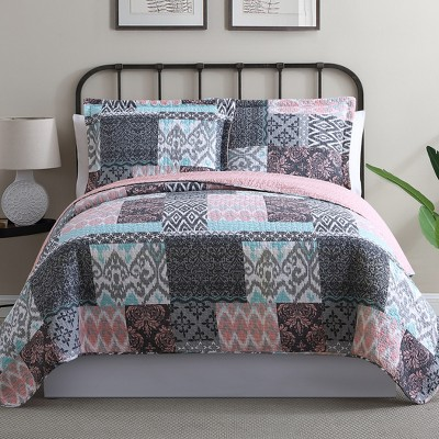 Modern Threads 100% Cotton 2 Or 3 Piece Printed Reversible Quilt Sets Sylvia.