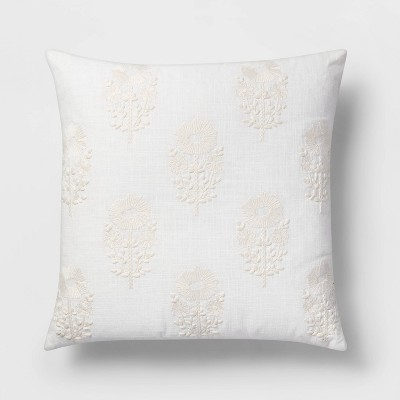 Square Embroidered Floral Pillow White - Threshold™