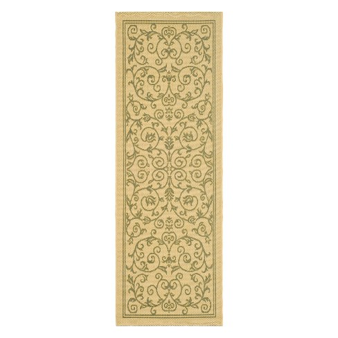 "Vaucluse Rectangle 2'3"" X 10' Outdoor Rug - Natural / Olive - Safavieh® - image 1 of 1"