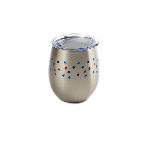 Stainless Steel Lidded Wine Tumbler 8oz Stars - Silver - image 1 of 1