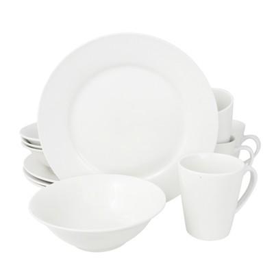 Gibson Noble Court 12 Piece Dinnerware Set Rim Shape in White