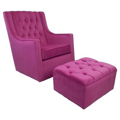 Ava Upholstered Ottoman - Hot Pink
