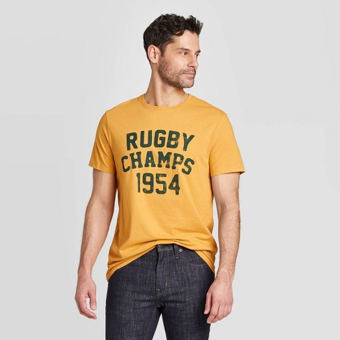 Men's Standard Fit Short Sleeve Crew Neck Rugby Graphic T-Shirt - Goodfellow & Co™ Squash - image 1 of 3
