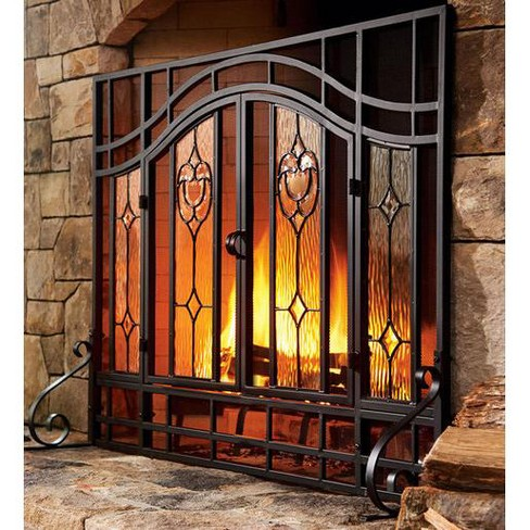 2 Door Floral Fireplace Fire Screen With Beveled Glass Panels Black