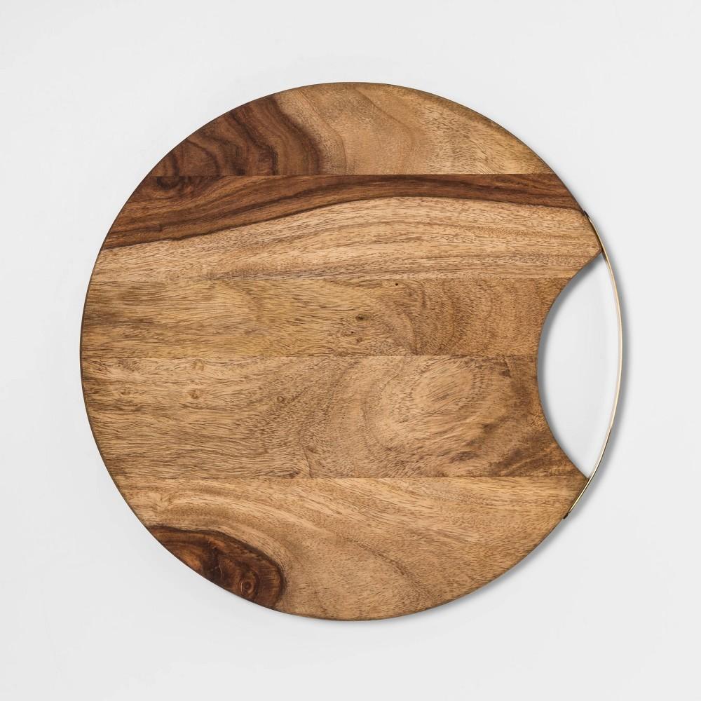 "Image of ""13"""" Sheesham Wood Round Serving Board - Threshold , White"""