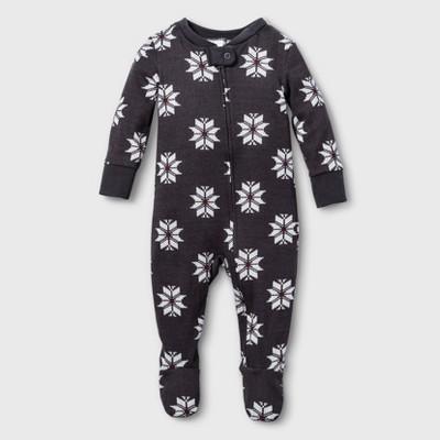 Baby Fair Isle Holiday Pajamas Footed Sleeper - Gray 3M - Hearth & Hand™ with Magnolia