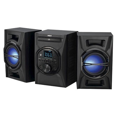 RCA CD Audio System with Lighted Speakers and Bluetooth - Black (RS3697B)