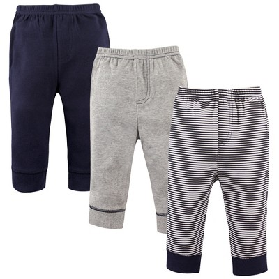 Luvable Friends Baby and Toddler Boy Cotton Pants 3pk, Stripe Navy Gray