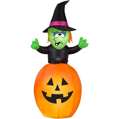 Gemmy Animated Airblown Spinning Witch in Pumpkin, 5.5 ft Tall, Multicolored