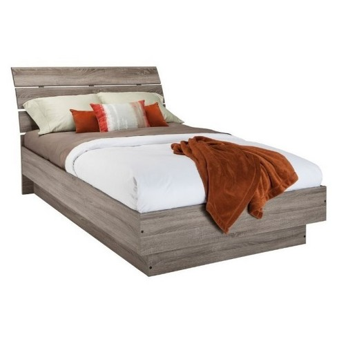 Wood Queen Platform Bed in Truffle Brown-Pemberly Row - image 1 of 3