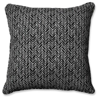 Outdoor/Indoor Herringbone Black Floor Pillow - Pillow Perfect