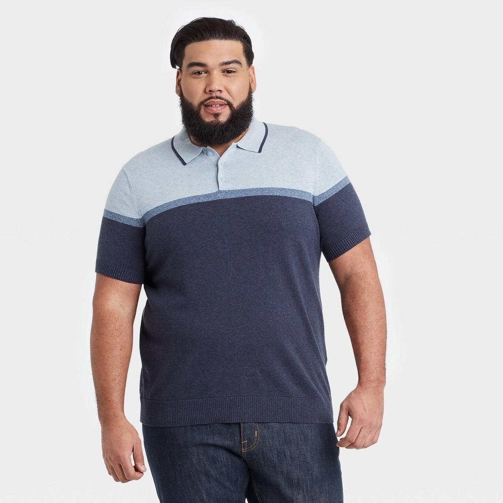 Men 39 S Big 38 Tall Striped Regular Fit Short Sleeve Sweater Polo Goodfellow 38 Co 8482 Navy 2xb