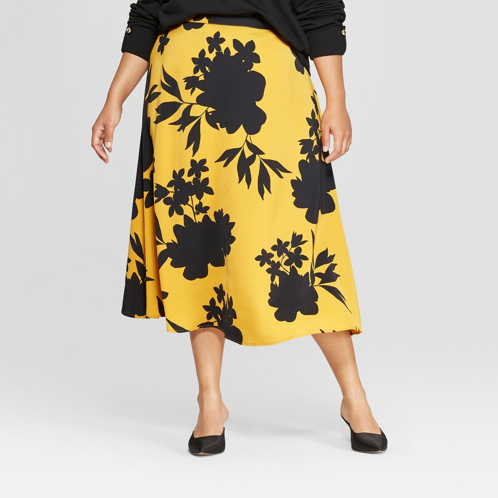 Image of Women's Plus Size Floral Print Full Silky Maxi Skirt - Who What Wear Yellow/Black 22W, Yellow/Black Floral