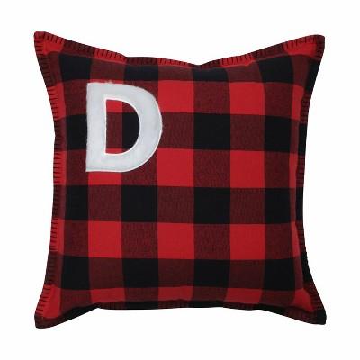 "17""x17"" Buffalo Plaid 'D' Throw Pillow Red/Black - Pillow Perfect"