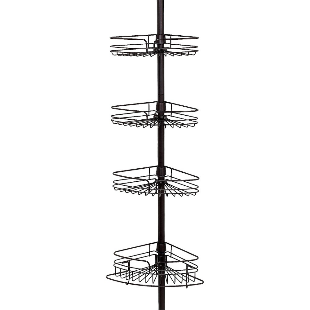 Image of 4Tier Rust Resistant Bathtub & Shower Pole Caddy Heritage Bronze - Zenna Home, Brown