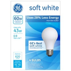 GE® 60-Watt Energy Efficient Halogen Light Bulb Soft Frosted White 4pk