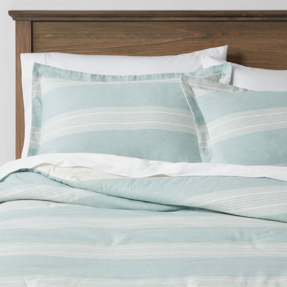 King Chambray Yarn Dye Stripe Comforter 38 Sham Set Aqua Threshold 8482