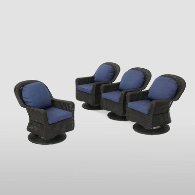4pk Liam Wicker Patio Swivel Chairs Brown / Navy Blue - Christopher Knight Home