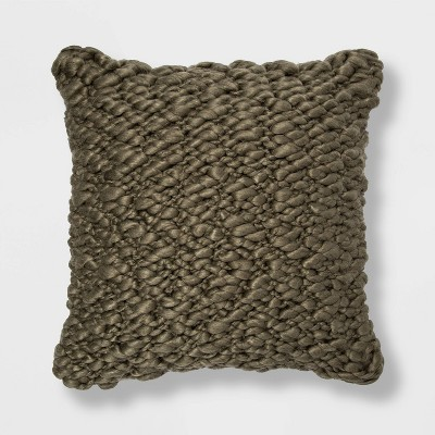 Chunky Weave Square Throw Pillow Sage - Project 62™