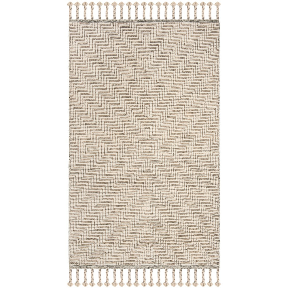 6'X9' Geometric Knotted Area Rug Ivory/Gray - Safavieh, White