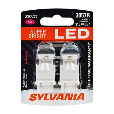 Sylvania Zevo 3057 Red LED Super Bright Interior and Exterior Rear Tail Brake Light Mini Light Bulb Set, 2 Pack