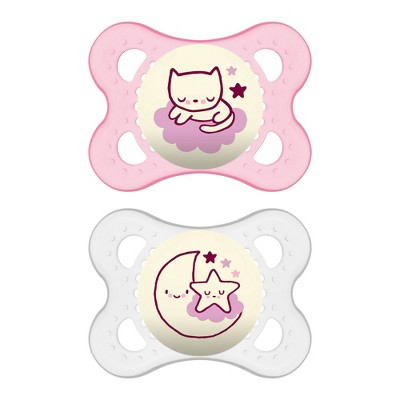 MAM Glow in the dark Night Pacifier 0-6 Months - 2ct Pink