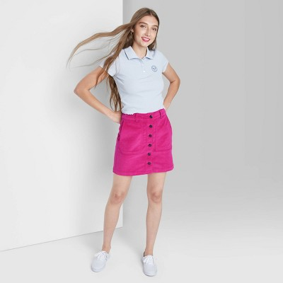 Women's Button-Front Cord Mini A-Line Skirt - Wild Fable™