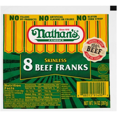 Nathan's Famous Skinless Beef Franks - 8ct/12oz - image 1 of 1