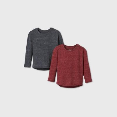 Toddler Boys' 2pk Long Sleeve Sharegainner Snow T-Shirt - Cat & Jack™ Red/Charcoal