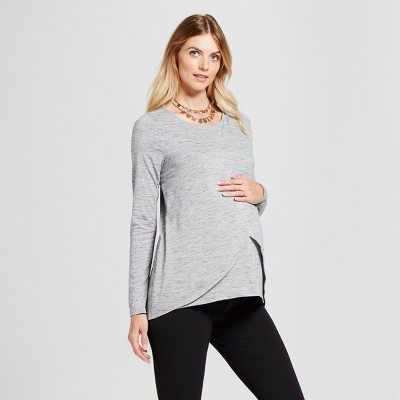 Maternity Long Sleeve Cross-Panel Nursing Top - Isabel Maternity™ by Ingrid & Isabel® Gray Heather L
