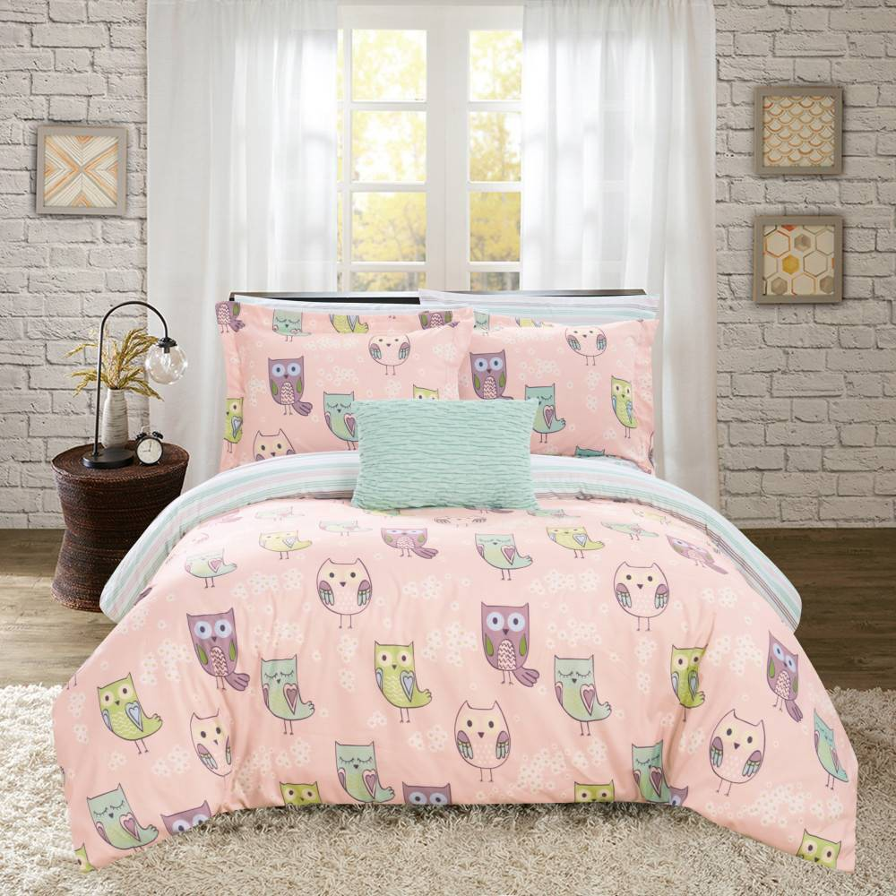 6pc Twin Horned Bed In A Bag Comforter Set Pink Chic Home Design