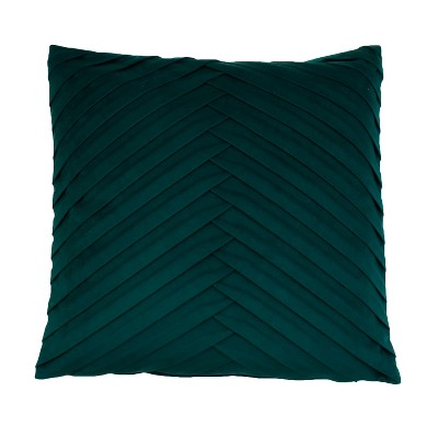 James Pleated Velvet Oversize Square Throw Pillow Dark Green - Decor Therapy