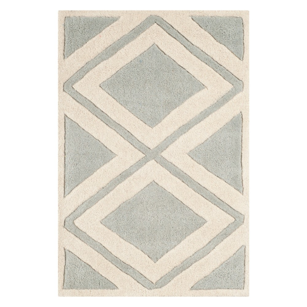 2'X3' Geometric Tufted Accent Rug Gray/Ivory - Safavieh
