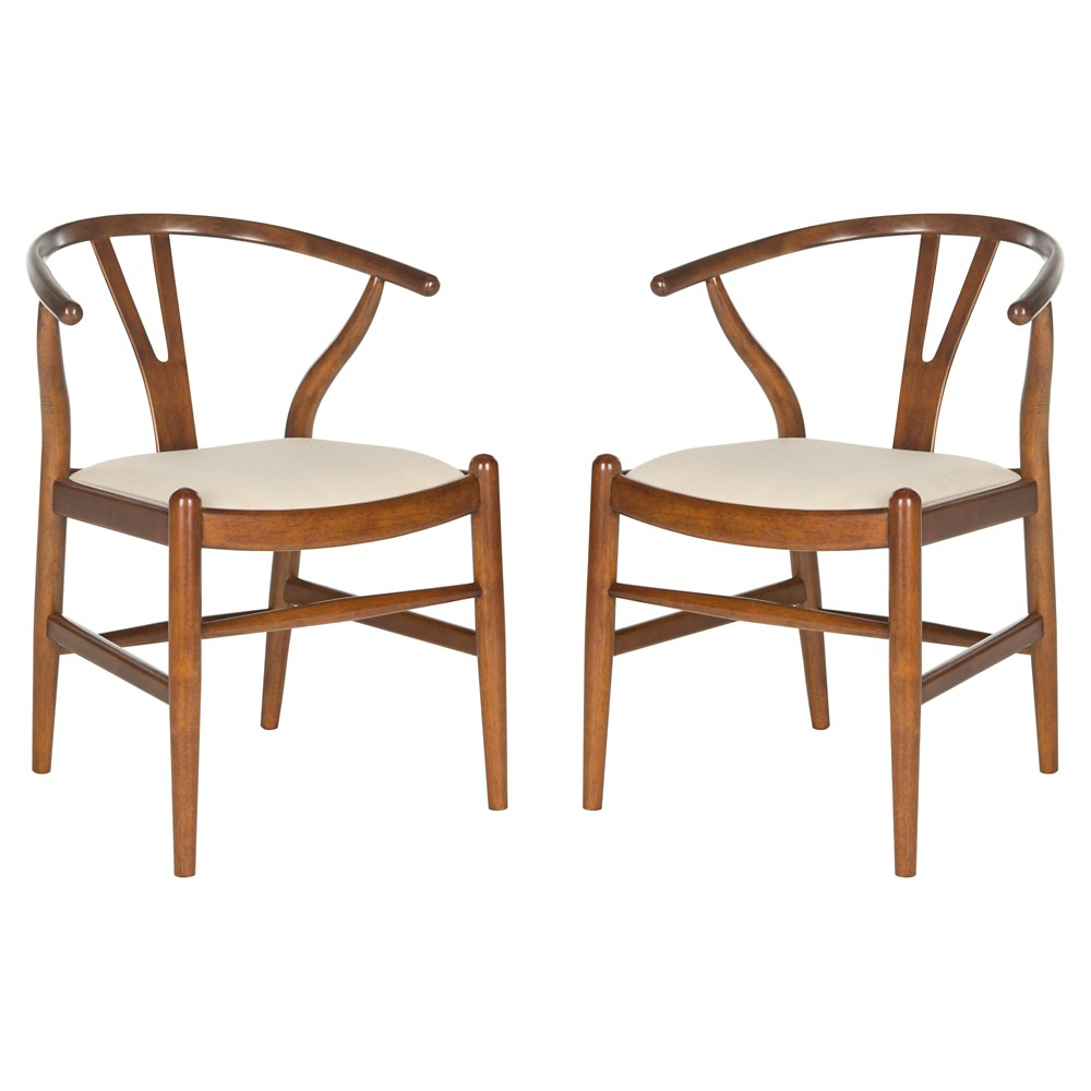Aramis Dining Chair Wood/Antique Brown/Taupe (Set of 2) - Safavieh, Brown/Soft Taupe