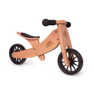 Kinderfeets Durable Wooden Tiny Tot 2 in 1 No Pedal Starter Balance Bike and Toddler Tricycle Sturdy Ride On Toy for 12 to 24 Months, Bamboo