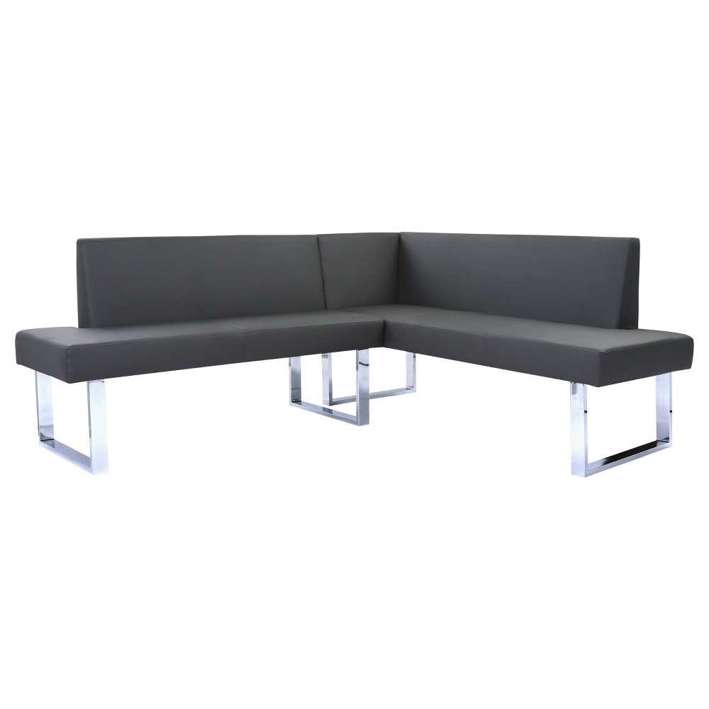 Image of Amanda Contemporary Nook Corner Dining Bench in Gray Faux Leather and Chrome Finish - Armen Living