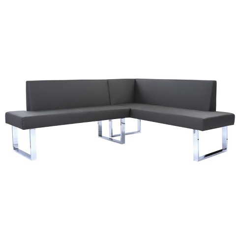 Amanda Contemporary Nook Corner Dining Bench in Gray Faux Leather and Chrome Finish - Armen Living - image 1 of 3